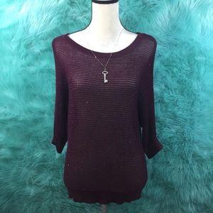 Apt. 9 burgundy shimmery knit blouse